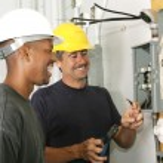 Electricians Enjoy Their Job — Stock Photo