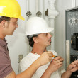 Electricians Wiring Panel — Stock Photo #6685725