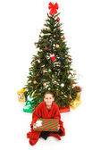 Christmas Tree and Boy — Stock Photo