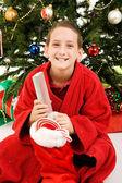 Happy Child on Christmas Morning — Stock Photo