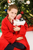 Little boy e calza di Natale — Foto Stock