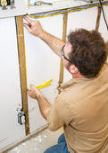 Electrician Installs Wiring in Wall — Stock Photo