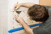 Marking Ceramic Tile — Stock Photo