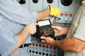 Electrical Team Testing Voltage — Stock Photo