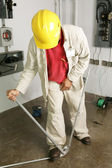 Electrician Bends Pipe — Stock Photo