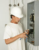 Electrician Trimming Wire — Stock Photo