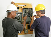 Electricians Repair Panel — Stock Photo