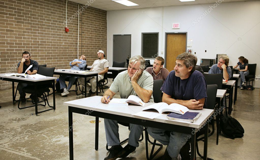 A classroom filled with very bored adult education students.    Stock Photo #6685628