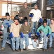 Factory Workers and Supervisor — Stock Photo
