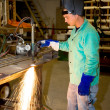 Stock Photo: Metal Worker Using Track Burner