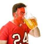 Beer Guzzling Sports Fan — Stock Photo