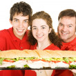 Sports Fans With Giant Sandwich - Photo