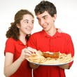 Teen Couple - Snack Time — Stock Photo