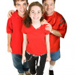 Teens and Dad in Red — Stock Photo