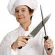 Competent Chef with Knife — Stock Photo