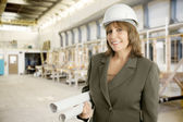 Female Engineer in Factory — Stock Photo