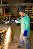 Metal Worker Using Track Burner — Stock Photo