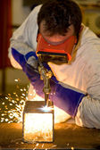 Welder Cutting with Flame — Stock Photo