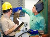 Welder with Supervisor — Stock Photo