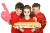 Fame festaioli con sandwich — Foto Stock