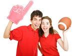 Teen Couple - Football Fans — Stock Photo