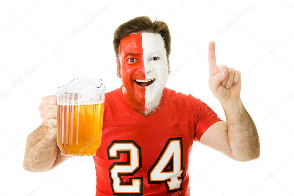 Enthusiastic sports fan with a pitcher of beer, making the number one sign.  Isolated on white.   — Stock Photo #6697012