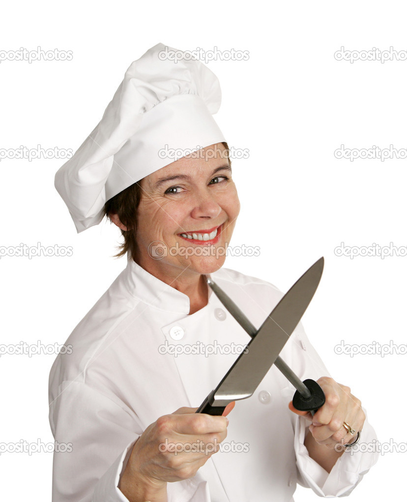 A happy, smiling chef sharpening a large knife.  Isolated on white. — Stock Photo #6697322