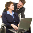Disabled Businesswoman and Boss — Stock Photo