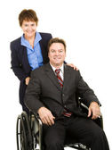 Disabled Businessman and Colleague — Stock Photo