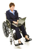 Happy Disabled Businesswoman with Laptop — Stock Photo