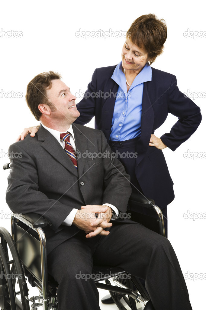 Disabled businessman in wheelchair and his female partner.  Isolated on white. — Stock Photo #6700911