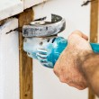 Cutting Insulation with Grinder — Stock Photo #6717460
