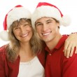 Christmas Together Mom and Son — Stock Photo