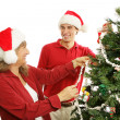 Decorating the Christmas Tree - Family Fun — Stock Photo