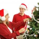 Decorating the Christmas Tree - Family Fun — Stock Photo