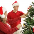 Decorating Christmas Tree Together — Stock Photo