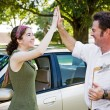 Stock Photo: High Five - Ready to Drive