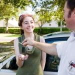 Receiving Car Keys — Stock Photo