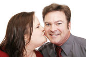 Romantic Kiss for Him — Stock Photo