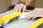Cutting Ceramic Tile Closeup — Stock Photo