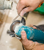 Using Hand Grinder Closeup — Stock Photo
