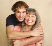 Mother and Adult Son Portrait — Stock Photo