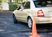 Teen Driving Test - Parking — Stock Photo