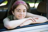Teen in Car Window — Stock Photo