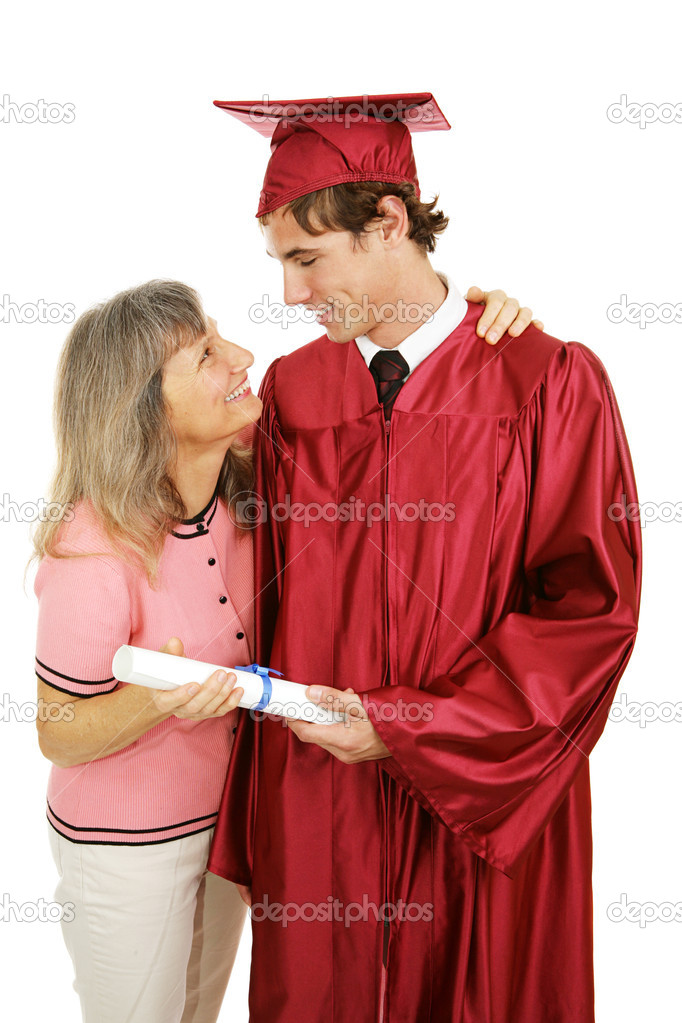 Proud mother congratulates her son on his graduation.  Isolated on white.   — Stock Photo #6717557