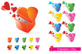 Valentine Heart Gift Set — Stock Vector