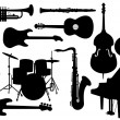 Stock Vector: Vector Musical Instruments Silhouettes