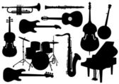 Vector Musical Instruments Silhouettes — Stock Vector