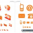 Orange vector contact icons set - Stock Vector