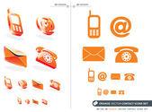 Orange vector contact icons set — Stock Vector